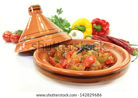 oriental vegetables pan with peppers, tomato and meatballs - stock photo