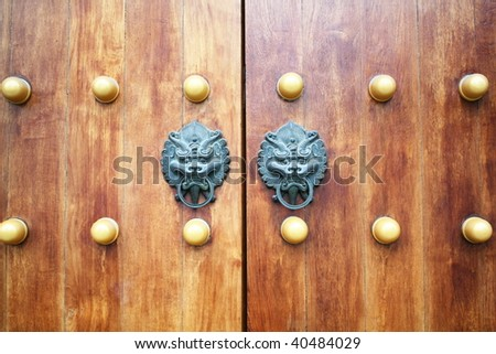 Oriental wood door - stock photo