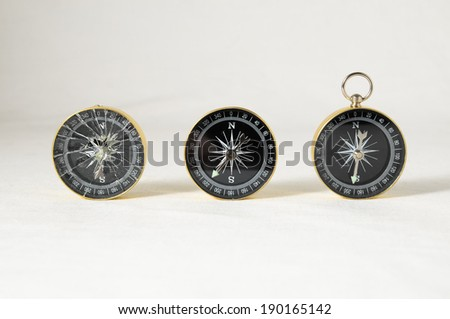 Orientation Concept - Analogic Compass on a White Background