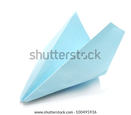 Origami airplane  out of the blue paper isolated on white - stock photo