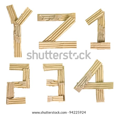 Origami alphabet letters number recycled paper craft cut on white background (Save path) - stock photo