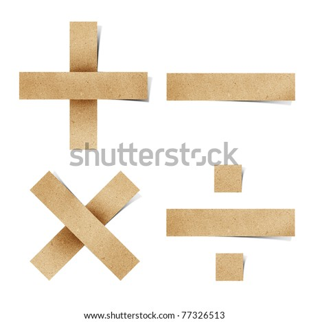 Origami alphabet letters number recycled paper craft stick on white background ( + - * /  ) - stock photo