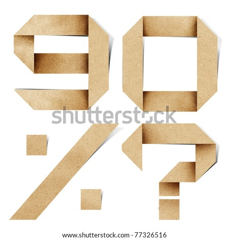 Origami alphabet letters number recycled paper craft stick on white background ( 9 0 % ? ) - stock photo