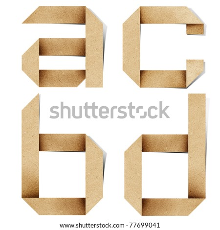 Origami alphabet letters recycled paper craft stick on white background ( a b c d )