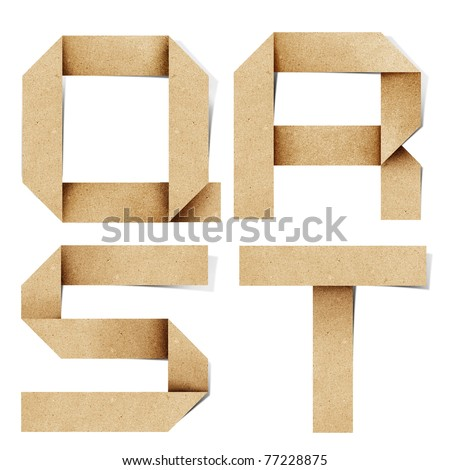 Origami alphabet letters recycled paper craft stick on white background (  q r s t  ) - stock photo