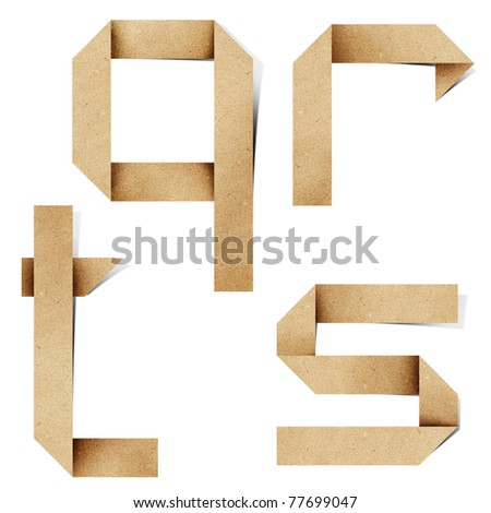 Origami alphabet letters recycled paper craft stick on white background (q r s t ) - stock photo