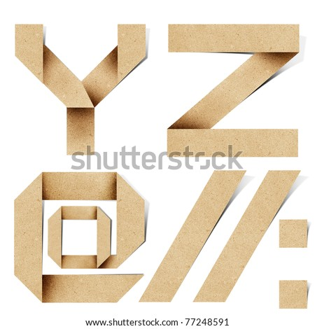 Origami alphabet letters recycled paper craft stick on white background (  y z )
