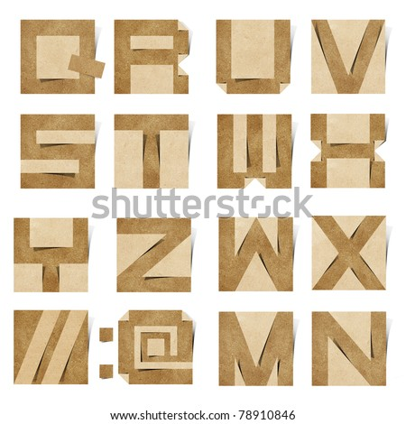 Origami alphabet ( Note Pad style ) letters recycled paper craft stick on white background - stock photo