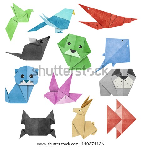 Origami Animal made from Recycle Paper - stock photo
