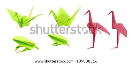 origami animals isolated on white background - stock photo