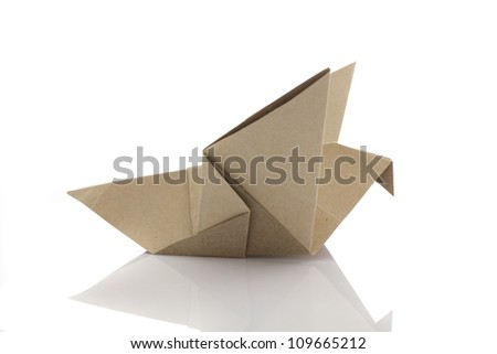 Origami bird by recycle papercraft - stock photo