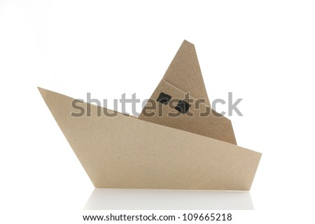 origami boat in white background