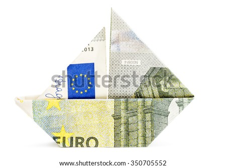Origami boat made of 5 euro bill isolated on white background. - stock photo