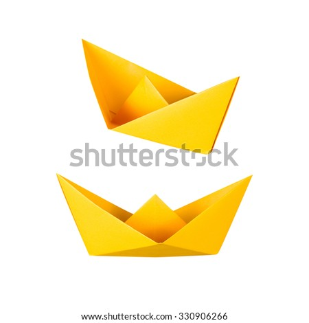 origami boat or paper boat on white background