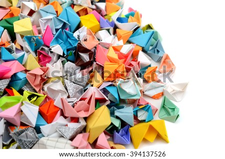 Origami boats - stock photo