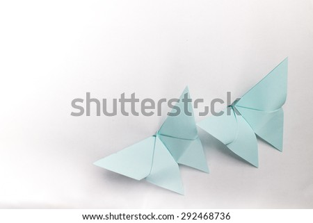 Origami butterfly on white background  - stock photo