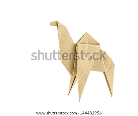 Origami camel recycle  paper isolated on white background - stock photo