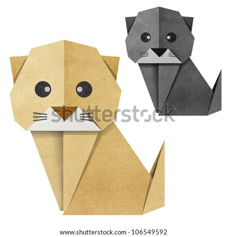 Origami cat made from Recycle Paper