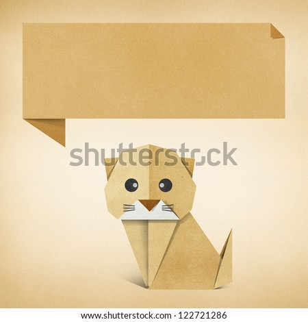 Origami cat recycled paper background