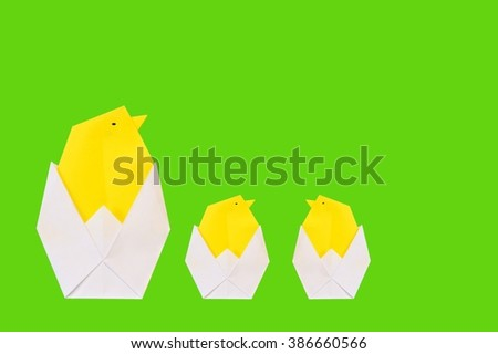 origami chicken from paper ( Easter theme ) - stock photo