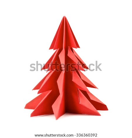 Origami Christmas tree paper isolated on white background. For decoration, Merry Christmas postcard vintage with red paper. Happy New Year. Front view. Close up. - stock photo