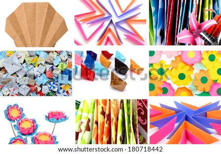 Origami collection of different origami papers - stock photo