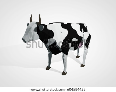 Origami Cow Polygonal Geometric Style Standing Full Length In Front Of