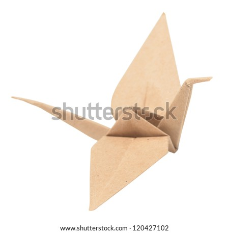 origami crane isolated on white - stock photo
