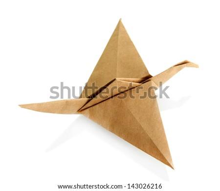 Origami crane isolated on white - stock photo