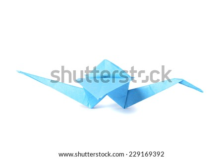 Origami crane isolated over white background