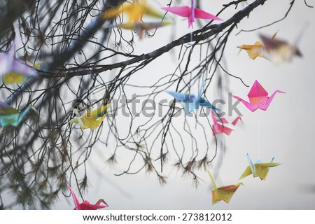 Origami cranes on the tree  - stock photo