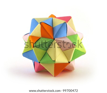 Origami crystal object - stock photo