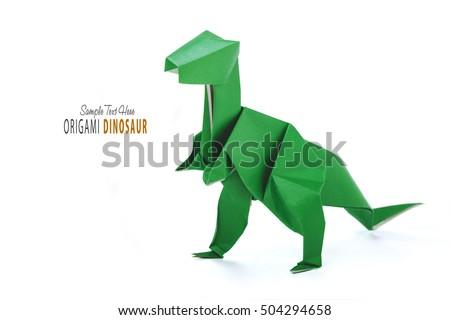 Origami Dinosaur On White Stock Photo Royalty Free 504294658