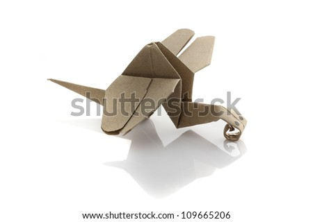 Origami dragonfly by recycle papercraft - stock photo