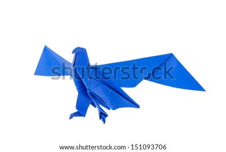 Origami eagle isolated on white background - stock photo
