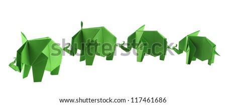 origami elephants - stock photo