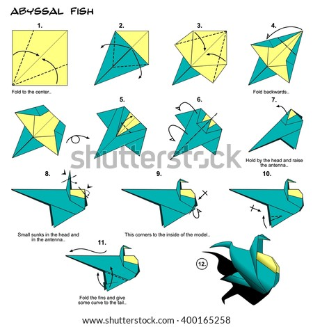 Origami fish instructions steps stock illustration for Origami fish instructions