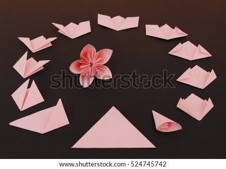 Origami flower instruction stock photo royalty free 524745742 origami flower instruction mightylinksfo