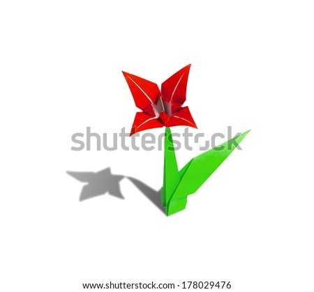 origami flower Red lily isolated on white