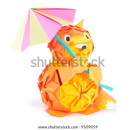 origami fox figure with umbrella (isolated on white) - stock photo