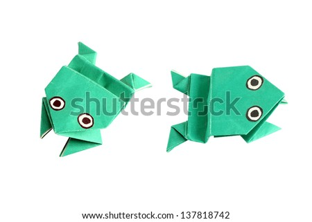 Origami frog in two different positions, isolated on white - stock photo