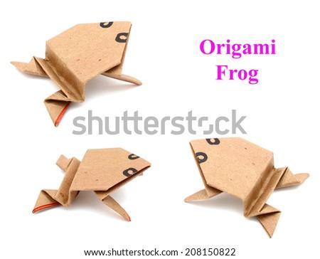 Origami frog isolated - stock photo