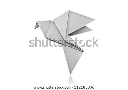 Origami Gray paper bird on white background. - stock photo