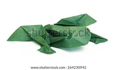 Origami green paper frog on a white background - stock photo