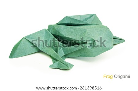 Origami green paper frog on a wtite background - stock photo