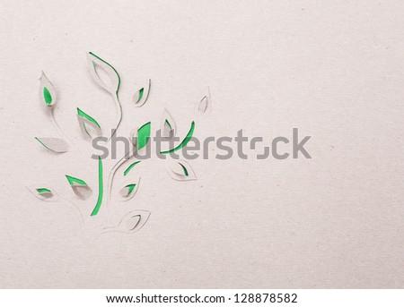 Origami  handmade cutout plant - stock photo