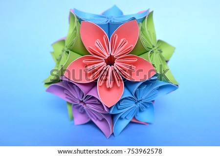Origami kusudama flower ball on blue stock photo 100 legal origami kusudama flower ball on blue background mightylinksfo