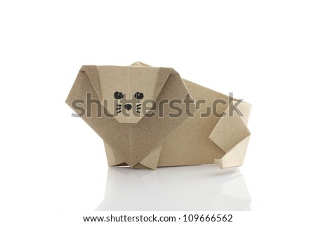 Origami lion by recycle papercraft - stock photo