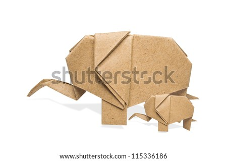 origami Mother and child elephant recycle paper on a white background,