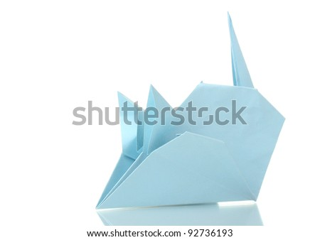 Origami mouse out of the blue paper isolated on white - stock photo